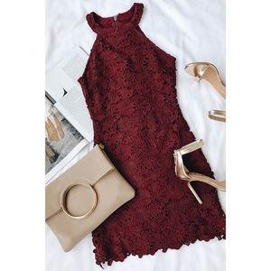 Love Poem Burgundy Lace Mini Dress